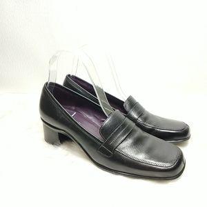 Aerosoles SeaChore Black Leather Loafer Pump sz 8